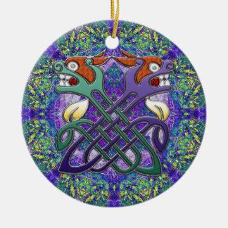 Celtic Design Split Heads Double-Sided Ceramic Round Christmas Ornament