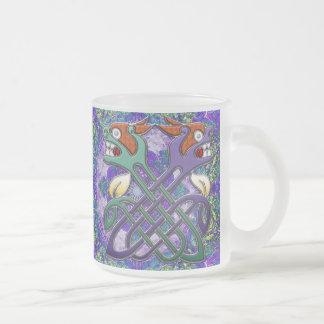 Celtic Design Split Heads Frosted Glass Coffee Mug