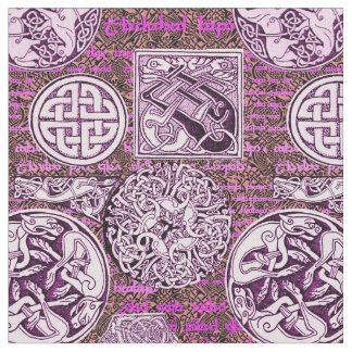 Celtic Dogs and Horses in Purple Fabric
