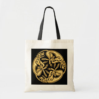 Celtic dogs gold traditional ornament digital art canvas bags