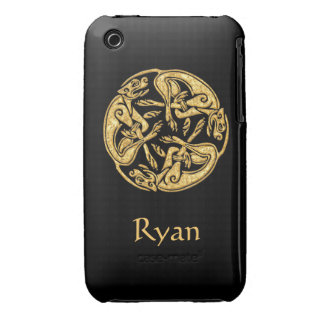 Celtic dogs gold traditional ornament digital art Case-Mate iPhone 3 cases