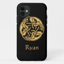 Celtic dogs gold traditional ornament digital art
