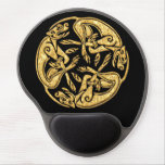 Celtic dogs gold traditional ornament digital art gel mouse pad