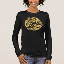 Celtic dogs gold traditional ornament digital art long sleeve T-Shirt