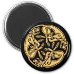 Celtic dogs gold traditional ornament digital art magnet