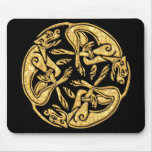 Celtic dogs gold traditional ornament digital art mouse pad