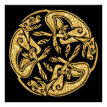 Celtic dogs gold traditional ornament digital art poster