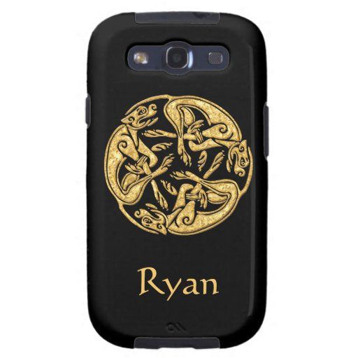 Celtic dogs gold traditional ornament digital art samsung galaxy SIII case