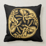 Celtic dogs gold traditional ornament digital art throw pillow