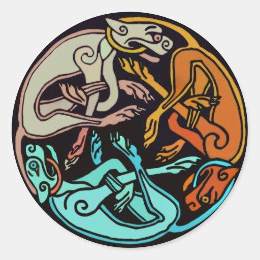 Celtic Dogs Round Sticker