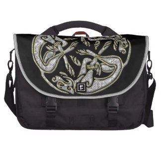 Celtic dogs traditional ornament gold and silver laptop commuter bag