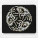 Celtic dogs traditional ornament gold and silver mouse pad