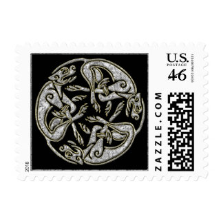 Celtic dogs  traditional ornament gold and silver postage