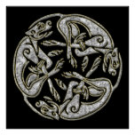 Celtic dogs traditional ornament gold and silver poster