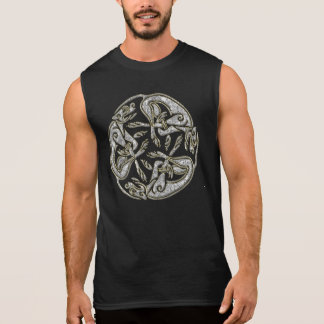 Celtic dogs  traditional ornament gold and silver sleeveless shirts