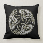 Celtic dogs traditional ornament gold and silver throw pillow