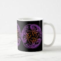 Celtic dogs traditional ornament in purple, orange