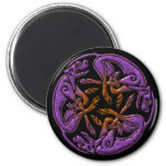 Celtic dogs traditional ornament in purple, orange magnet