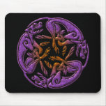 Celtic dogs traditional ornament in purple, orange mouse pad