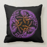 Celtic dogs traditional ornament in purple, orange throw pillow