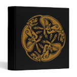 Celtic dogs traditional ornament wooden look 3 ring binder