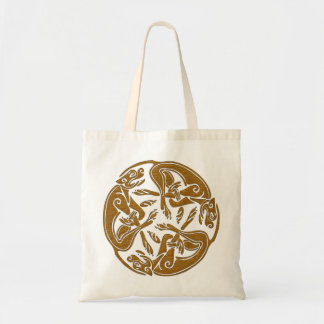 Celtic dogs traditional ornament wooden look tote bags