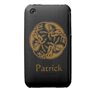 Celtic dogs traditional ornament wooden look Case-Mate iPhone 3 case