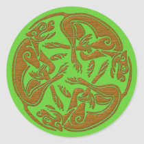 Celtic dogs traditional ornament wooden look