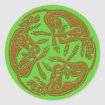 Celtic dogs traditional ornament wooden look classic round sticker