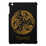 Celtic dogs traditional ornament wooden look iPad mini case