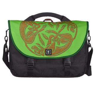 Celtic dogs traditional ornament wooden look computer bag