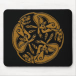 Celtic dogs traditional ornament wooden look mouse pad