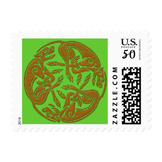 Celtic dogs traditional ornament wooden look postage