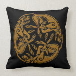 Celtic dogs traditional ornament wooden look throw pillow