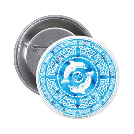 Celtic Dolphin 2 Inch Round Button