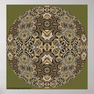 Celtic Dragon Delight Kaleidoscope Mandala Poster