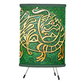 Celtic dragon design in green and gold tripod lamp