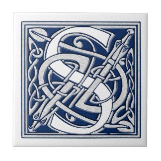 Celtic Dragon Initial S Tile
