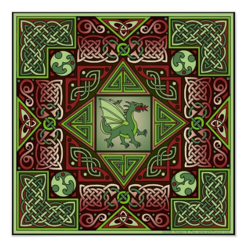 Celtic Dragon Labyrinth Fine Art Poster