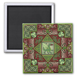 Celtic Dragon Labyrinth 2 Inch Square Magnet