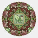 Celtic Dragon Labyrinth Round Stickers
