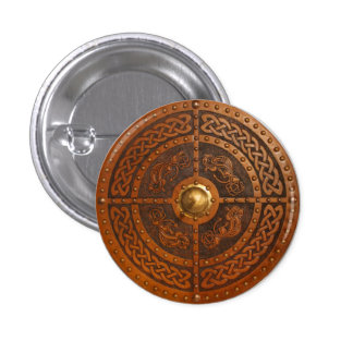 Celtic Dragon Targe Pinback Button