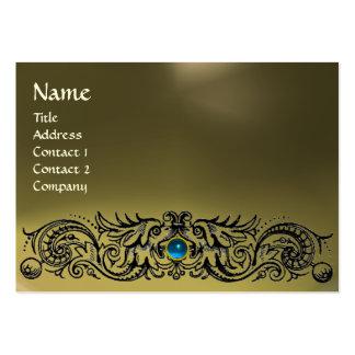 CELTIC DRAGONS MONOGRAM AGATE grey blue sapphire Large Business Card