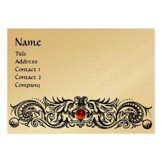 CELTIC DRAGONS MONOGRAM black ,gold metallic paper Large Business Card