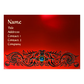 CELTIC DRAGONS MONOGRAM RUBY red blue sapphire Large Business Card