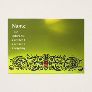CELTIC DRAGONS MONOGRAM TOPAZ yellow red ruby Business Card