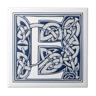 Celtic E Monogram Small Square Tile