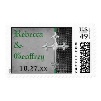 Celtic Emerald Green and Black Wedding Postage