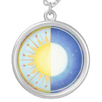 Celtic Equinox Sun and Moon Silver Plated Necklace