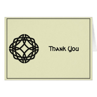 Celtic Eternity Knot Black and Ivory Thank You Card